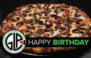 Green Lantern Pizza with Pepperoni and Sausage Happy Birthday
