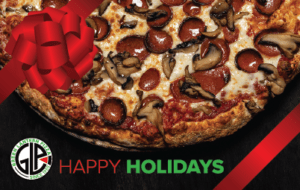Green Lantern Pizza with Pepperoni and Sausage Happy Holidays